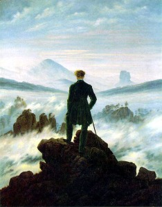 "Caspar David Friedrich, ""Wanderer above the Sea of Fog"" (1818). 94.8 × 74.8 cm, Kunsthalle Hamburg."