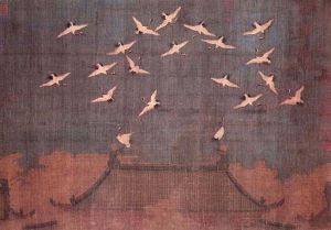 """Auspicious Cranes,"" a hand scroll on silk attributed to Song emperor Huizong (1082 - 1135, r. 1101 - 1126). Image courtesy of http://commons.wikimedia.org/wiki/File%3AAuspicious_Cranes.jpg"
