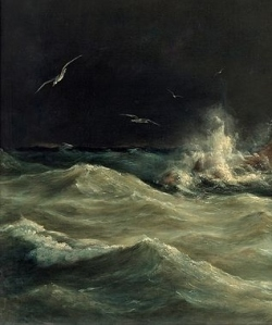 "Detail from Anton Melbye, ""Lighthouse at Stora Bält"" (1845) from image courtesy of www.wikipaintings.org/"