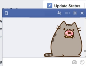 This image is derived from a Facebook screenshot. To view the original Pusheen drawn by Claire Belton, visit pusheen.com