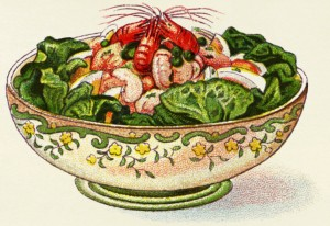 An illustration of a prawn salad from from Mrs. Beeton's Book of Household Management, 1907.courtesy of the Old Design Shop., a vintage image treasyury.