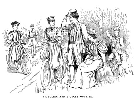 Image courtesy of the Old Design Shop, a vintage image treasury. This image of bicycle and bicycling outfits is from a page in The Delineator magazine, April 1895 issue.